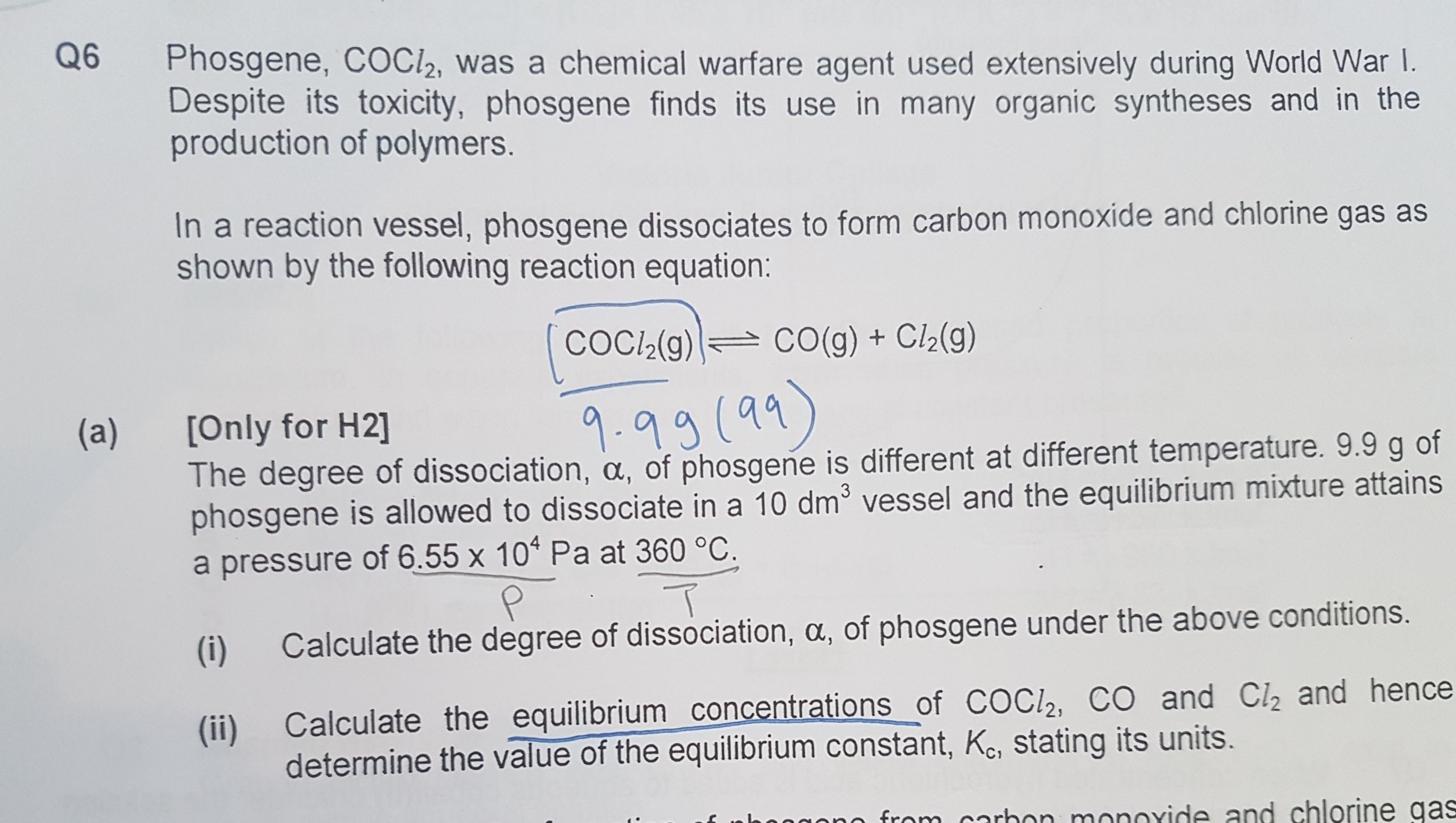 Help for 6a please Chemistry H2 chem equilibrium - Ask